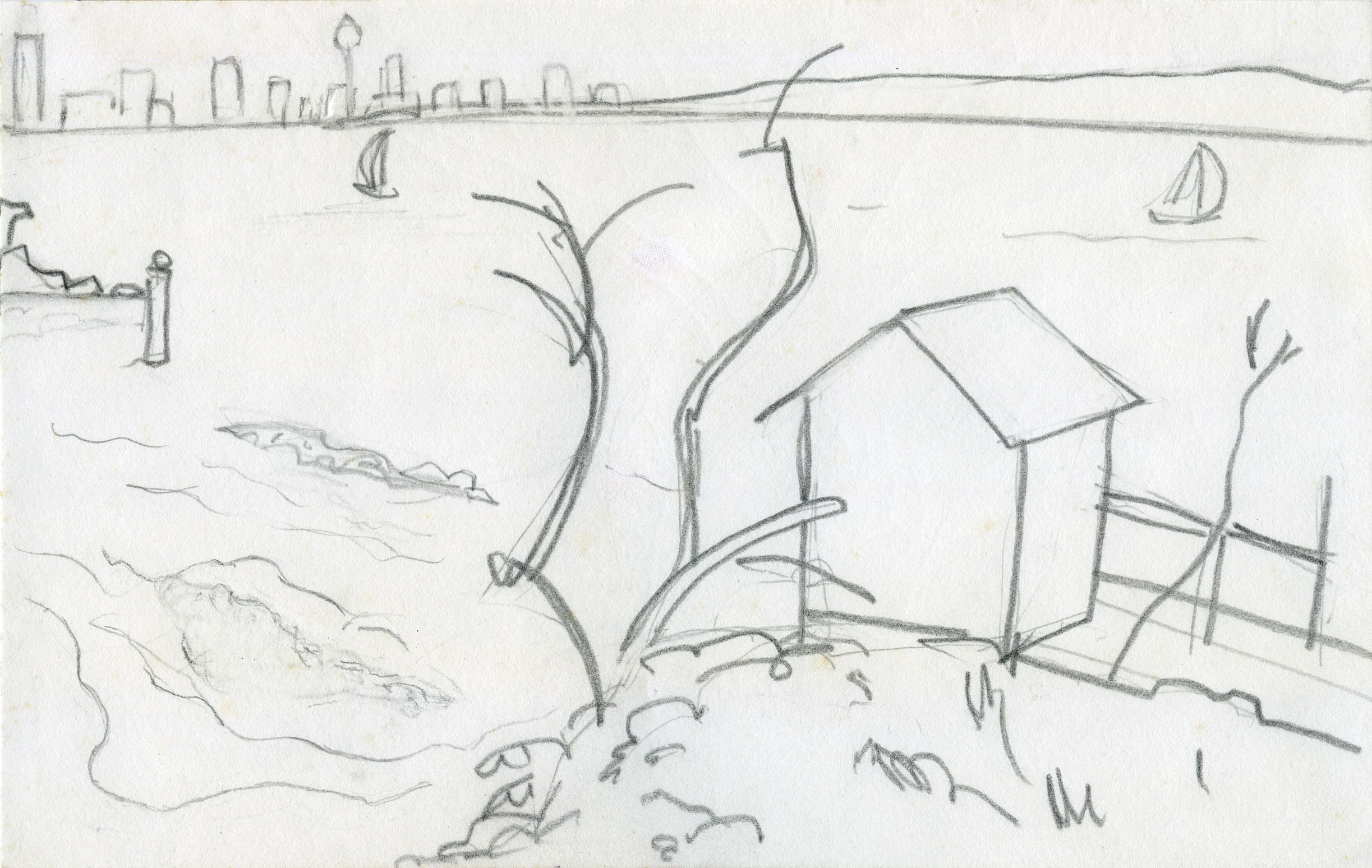 City from Camp Cove, pencil