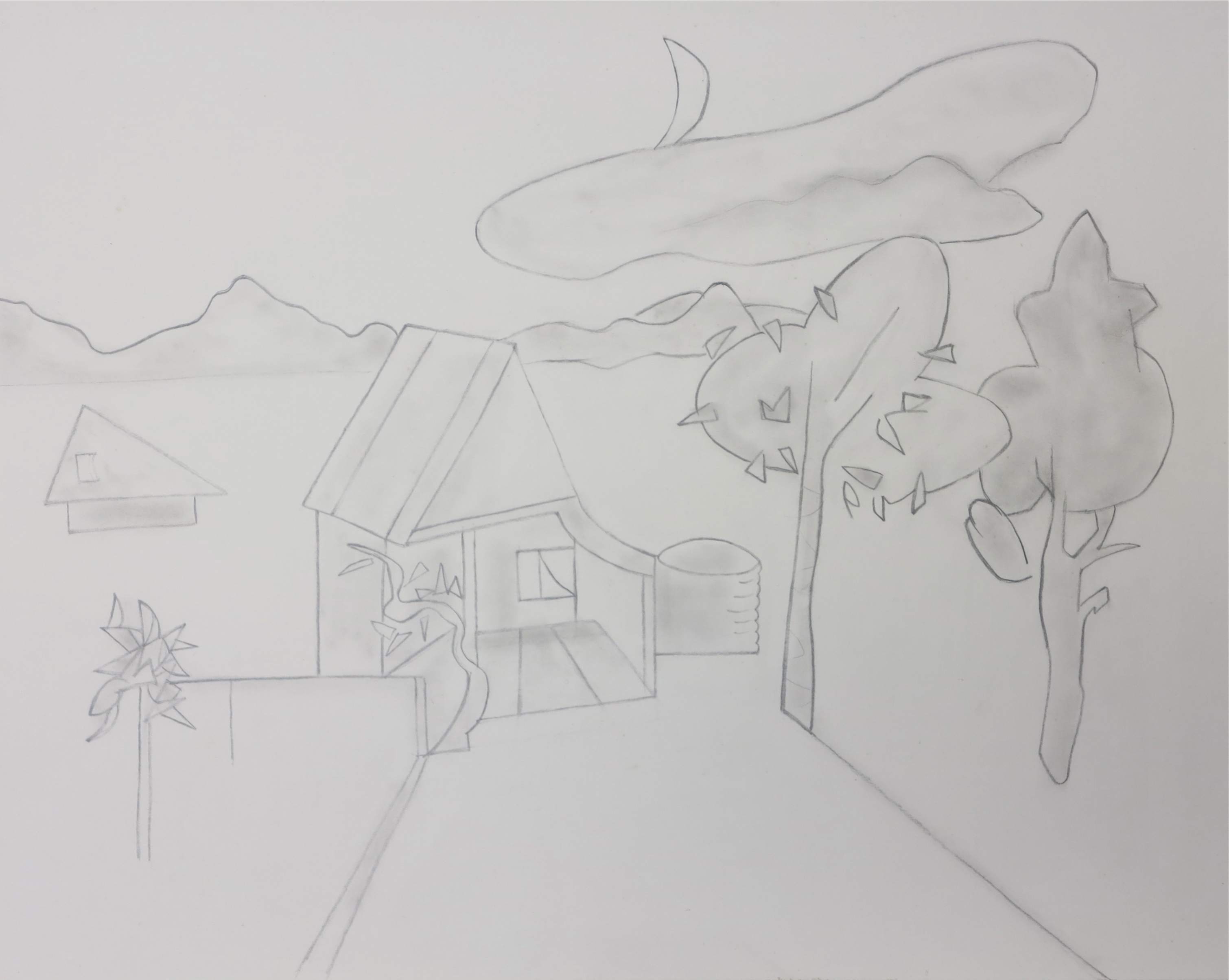 Farmhouse, evening, pencil