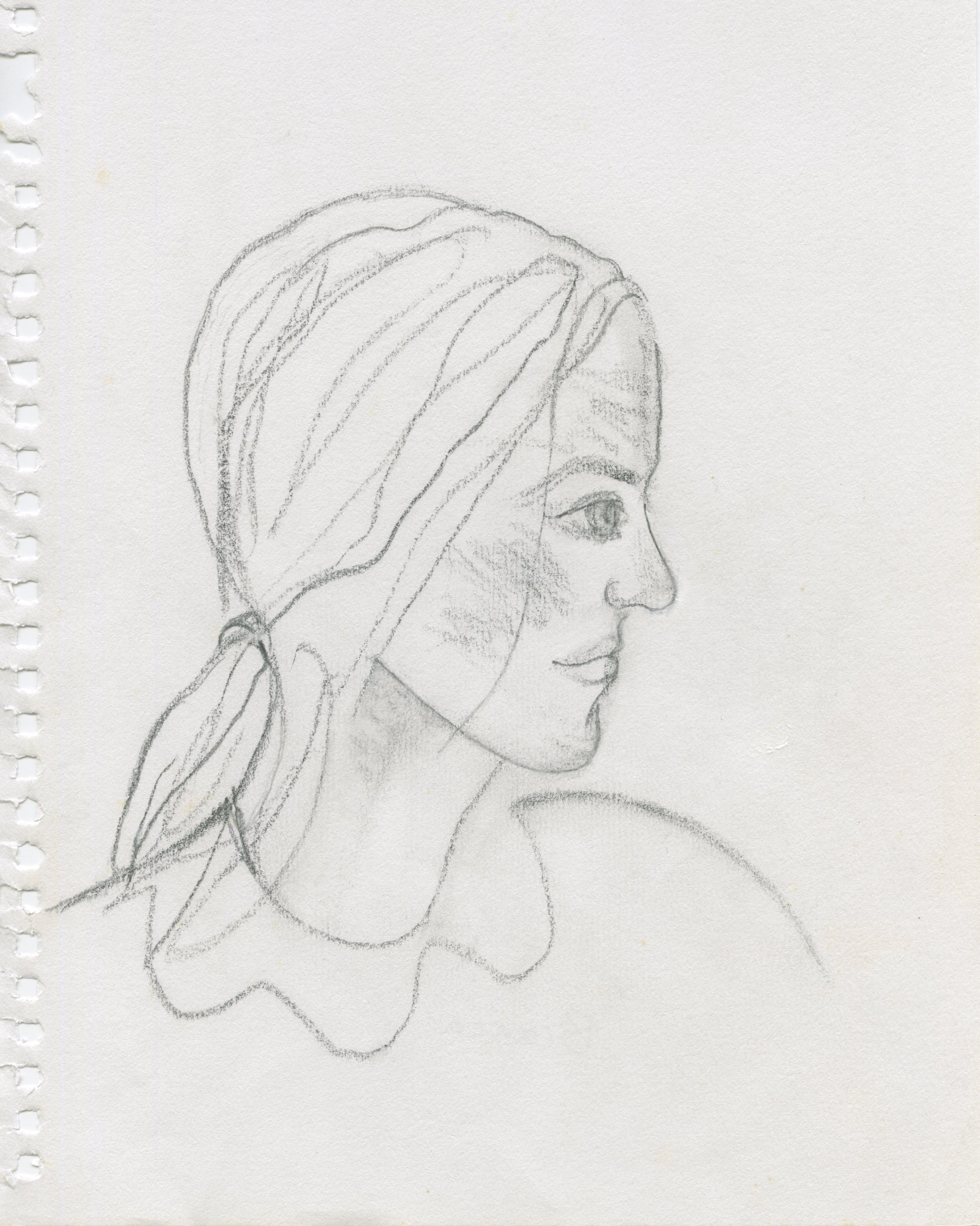 Girl on the train from Munich to Rome,  pencil