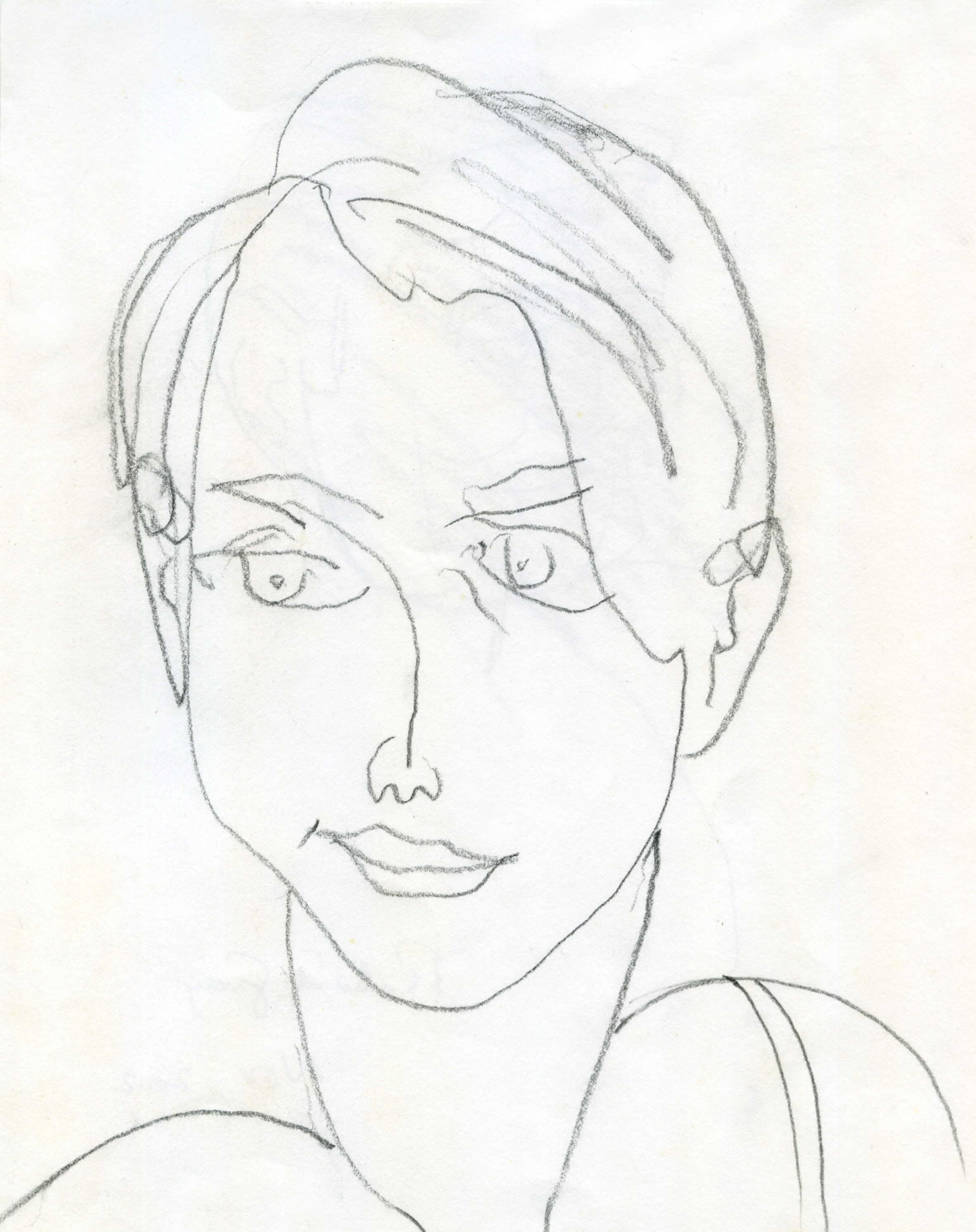 Young woman, pencil